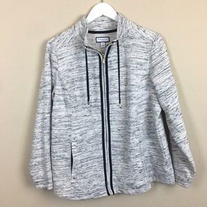 Charter Club- Zip up Sweatshirt- Gray White & Navy